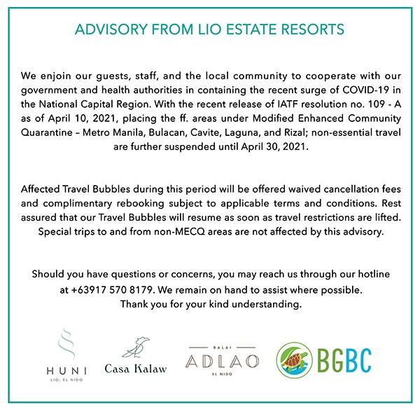 Resort Closure Advisory April 2021 Lio Beach