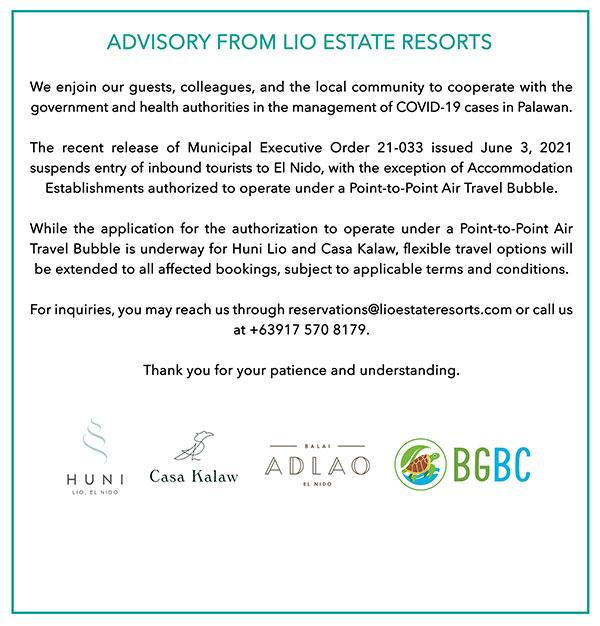Resort Closure Advisory June 2021