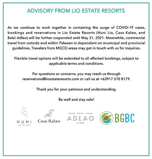 Resort Closure Advisory May 2021 Lio Beach